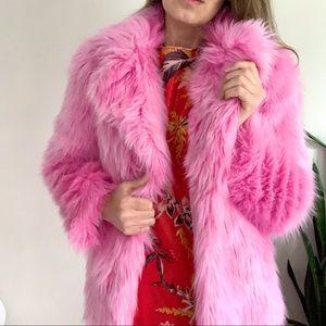 Topshop Pink Luxe Faux Fur Coat